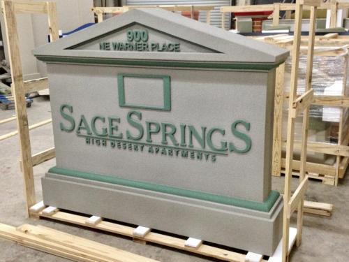 SAGE SPRINGS sandblasted foam sign